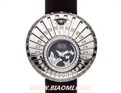 Crocus 施华洛世奇晶钻点缀花样年华蝶舞款皮质手表