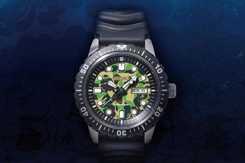 日本潮牌Bape与精工联名推出黑夜迷彩潜水腕表